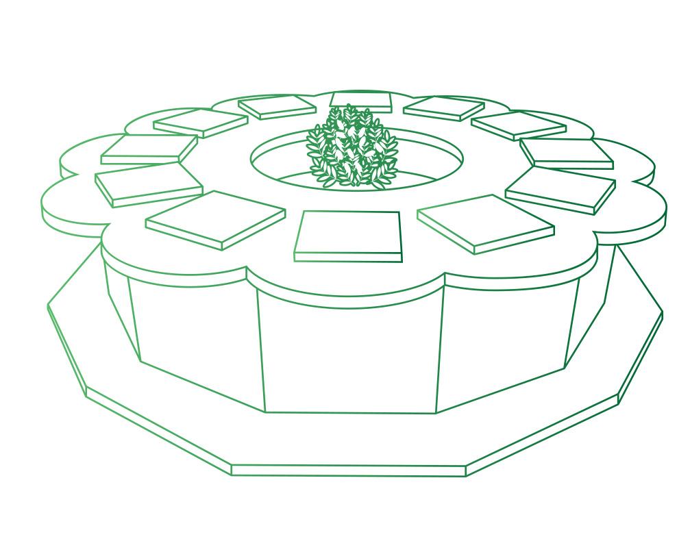 Columbarium en forme de fleurs